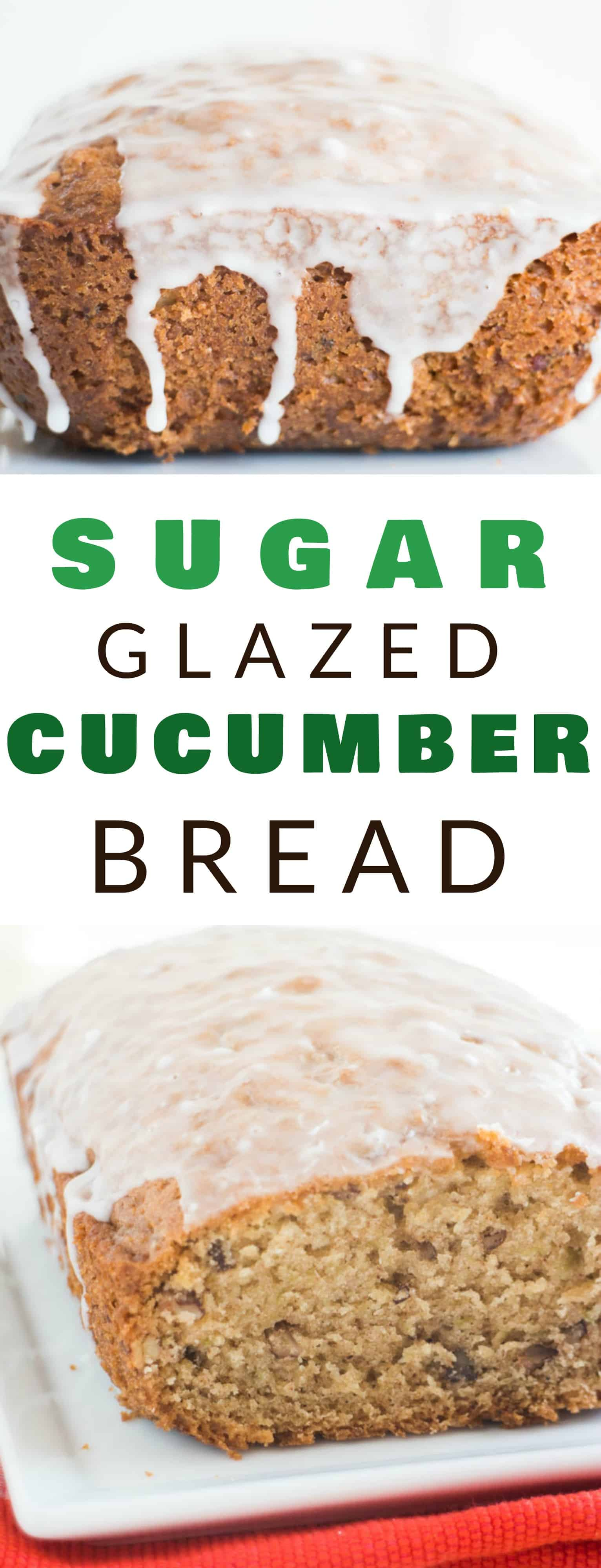 This Sugar Glazed CUCUMBER Bread is delicious and so moist!   It tastes just like zucchini bread, but it's made with 1 cup grated cucumber.  The healthy recipe is easy to make and is a great way to eat your vegetables!  A powdered sugar glaze is poured on top once baked! Everyone in my family LOVES it - even toddlers!