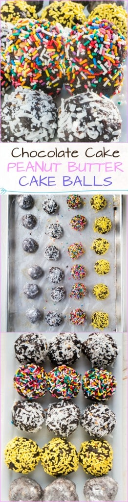 Chocolate Peanut Butter Cake Balls! (AKA What To Make When a Cake Falls Apart) Did your chocolate cake fall apart? Do you have peanut butter? Then you can put them together to make these delicious Chocolate Peanut Butter Cake Balls!