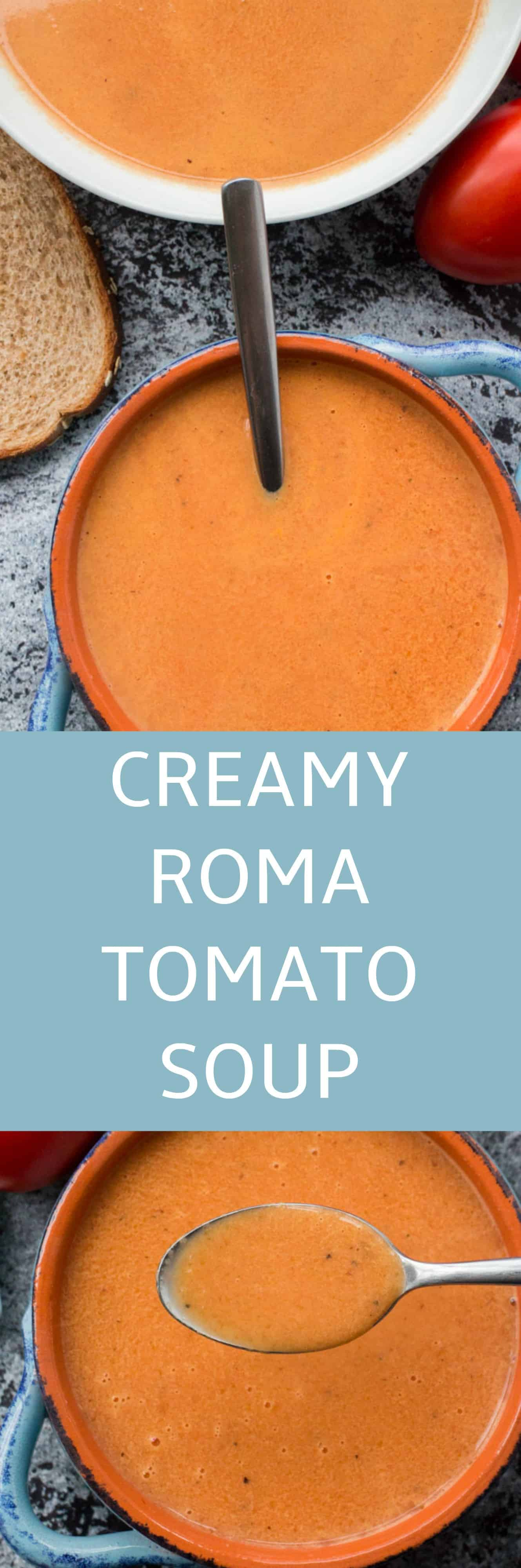 CREAMY TOMATO SOUP using fresh roma plum tomatoes!   This easy homemade recipe is perfect for when you are picking fresh tomatoes from the garden!  You will never buy canned tomato soup again!  This is kids favorite tomato soup!