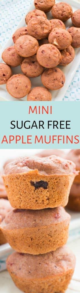 MINI SUGAR FREE Apple Muffins Recipe! These easy to make muffins are perfect for apple picking season! They are simple to make and made with ingredients everyone has in their kitchen! I love them to work for breakfast or a afternoon snack! Makes 20 mini muffins.
