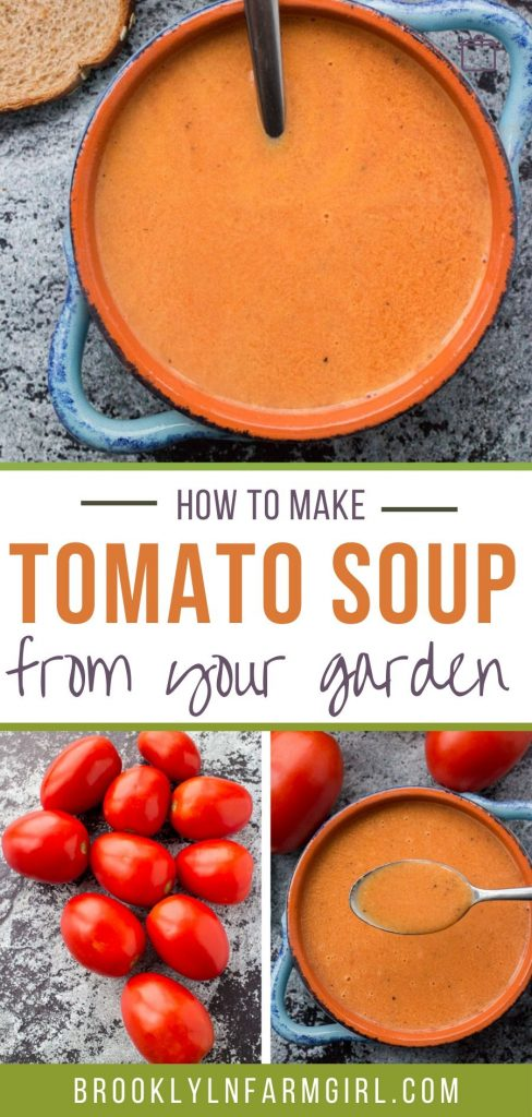 Creamy Tomato Soup using fresh roma plum tomatoes!   This easy homemade recipe is perfect for when you are picking fresh tomatoes from the garden!  You will never buy canned tomato soup again!