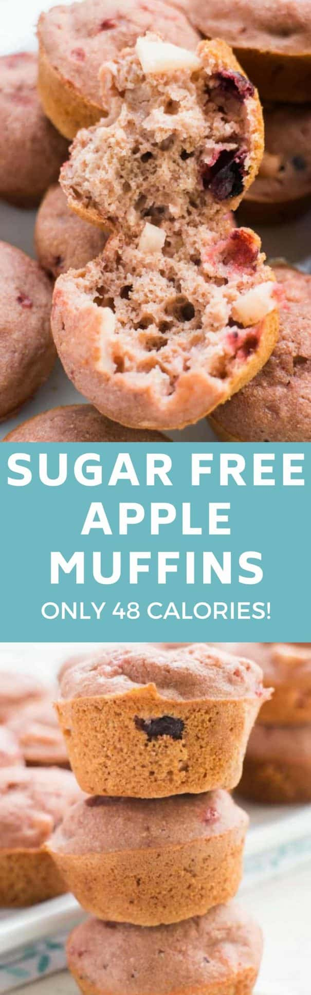 Mini Sugar Free Apple Muffins Recipe! They are only 48 calories a piece!  These easy to make healthy muffins are perfect for apple picking season!  I love them to work for breakfast or a afternoon snack! Makes 20 mini muffins.