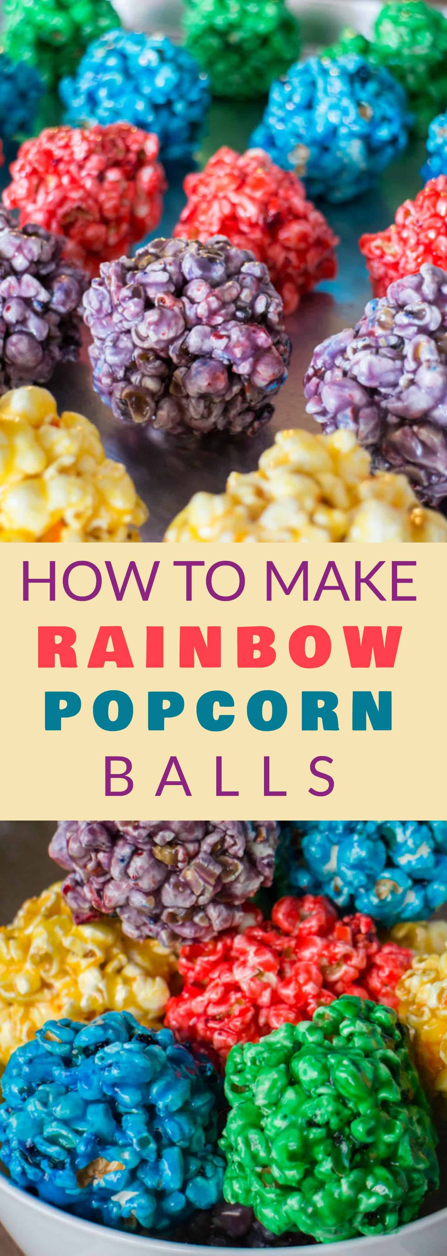 How to Make RAINBOW Popcorn Balls with marshmallow! This easy DIY recipe walks you through how to make popcorn balls that are colored using food dye and karo syrup! They're a great snack and dessert for birthday parties!