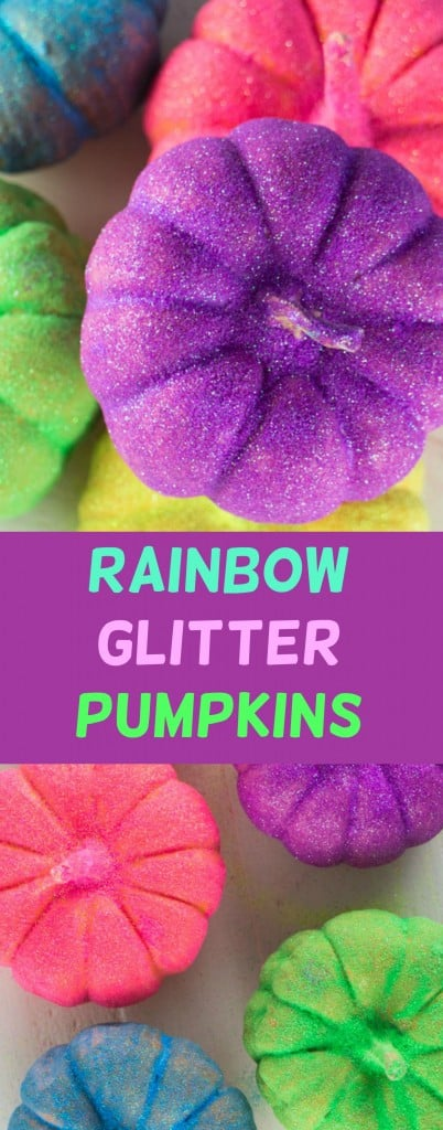How to Make DIY Rainbow GLITTER Pumpkins.  Follow these easy Step By Step Instructions on how to make a easy pumpkin Halloween Craft!  We love adding neon color to our Halloween decorations!  This is a great kids activity, even for pre-school and younger kids!