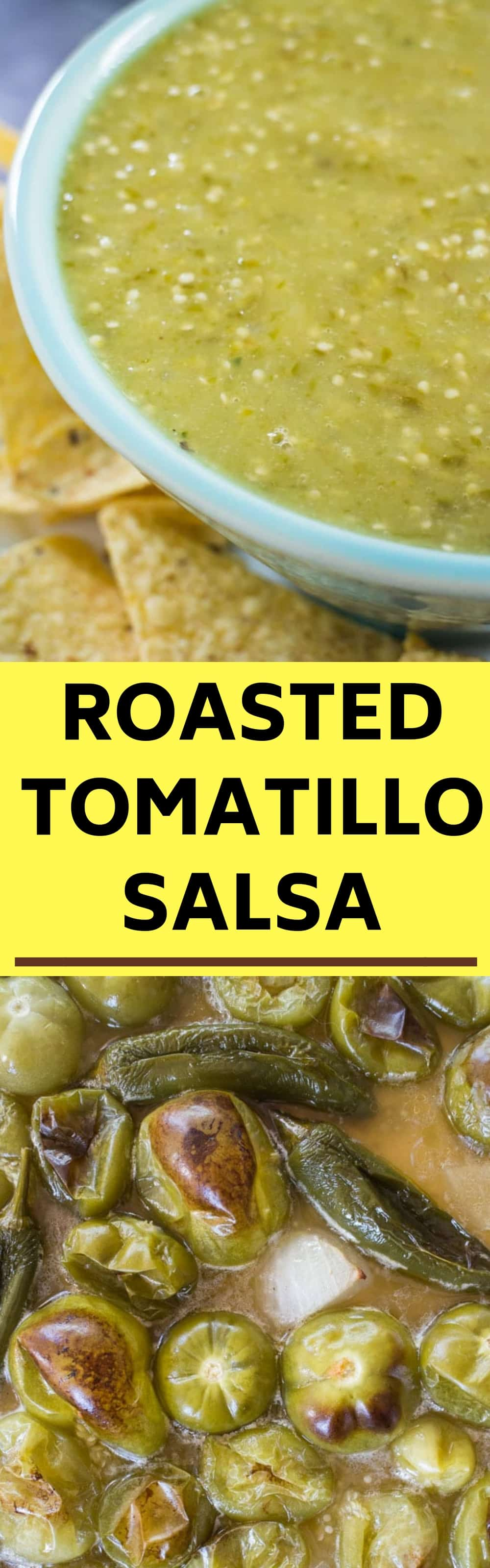 This easy recipe for Roasted Tomatillo Salsa Verde is packed with flavor and creaminess thanks to roasted tomatillos, onion and jalapeños! Learn how to make homemade roasted tomatillo salsa to serve with chips, tacos, enchiladas and more. Whole30, paleo, vegan, and gluten-free.