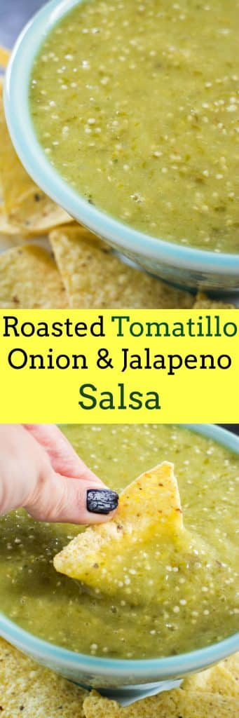 This recipe for Roasted Tomatillo, Onion & Jalapeno Salsa is delicious for dipping chips! The vegetables are roasted in the oven which creates a creamy salsa!