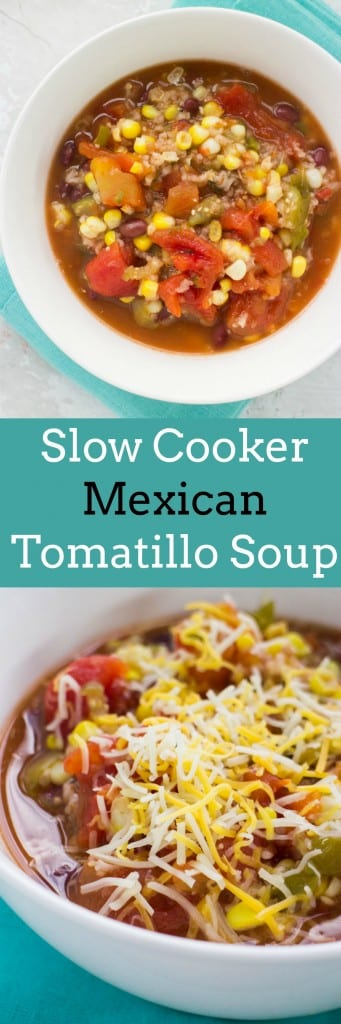 Slow Cooker Mexican Vegetarian Tomatillo Soup is a comforting recipe filled with healthy vegetables. Unlike other Fall comfort soups this one is low calorie. Soup ingredients include fresh tomatillos, tomatoes, onion, jalapeno, corn and black beans!