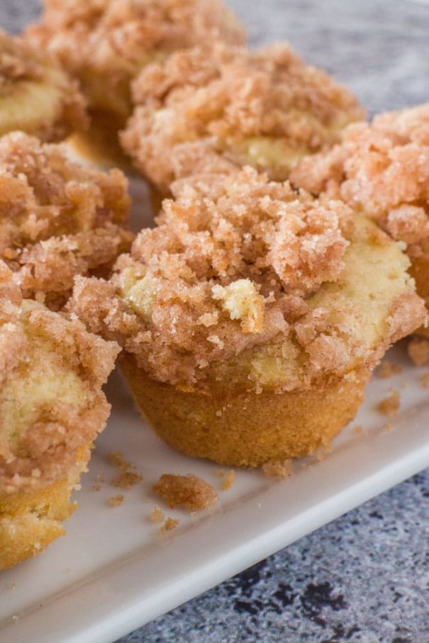 Easy Mini Coffee Cake Muffins recipe with a cinnamon sugarstreusel on top! These fluffy moist muffins are so quick to make! Recipe makes 16 mini muffins, only 105 calories a piece.