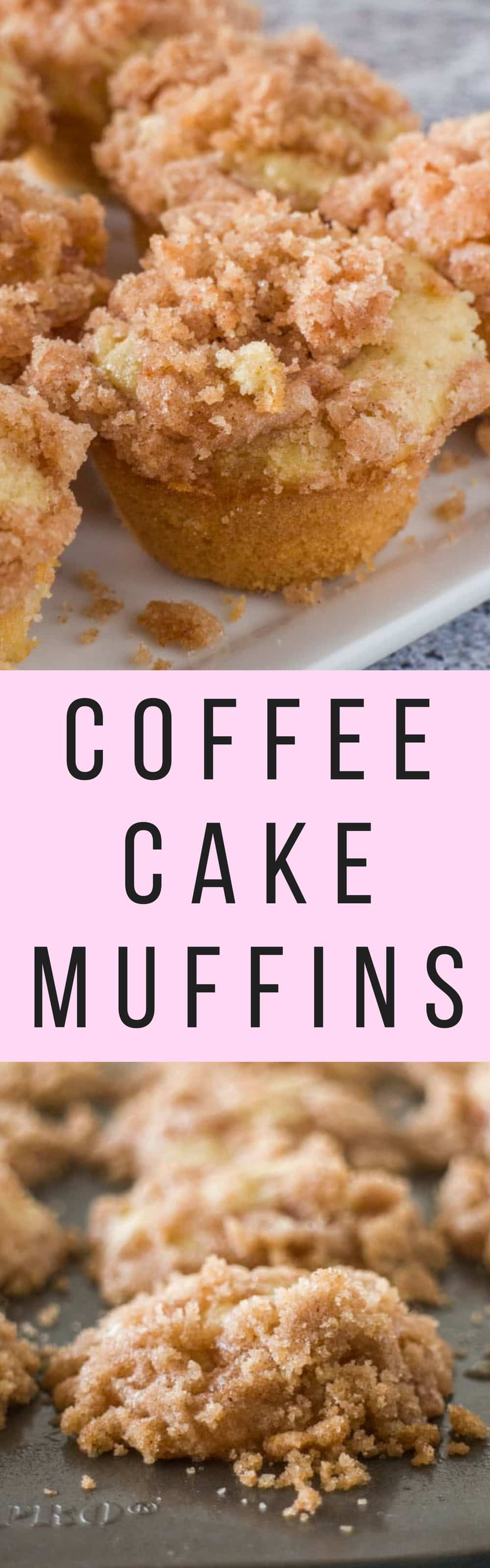 EASY RECIPE for Mini Coffee Cake Muffins that taste just like Coffee Cake!  Add a cinnamon sugar crumble on top! They are so quick to make!  My family loves them for breakfast and dessert!   Recipe makes 16 mini muffins.