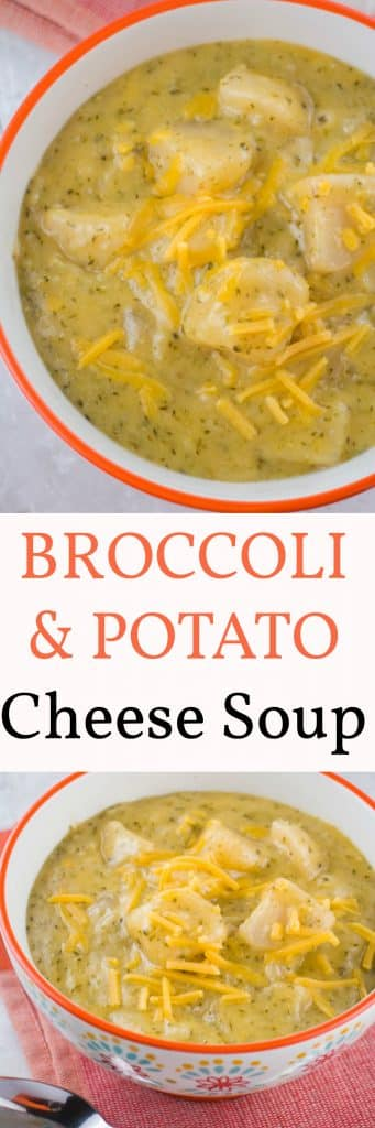 Easy recipe for SLOW COOKER Broccoli Cheese and Potato Soup!  This family favorite soup is cooked on high in the crockpot for 4 hours!