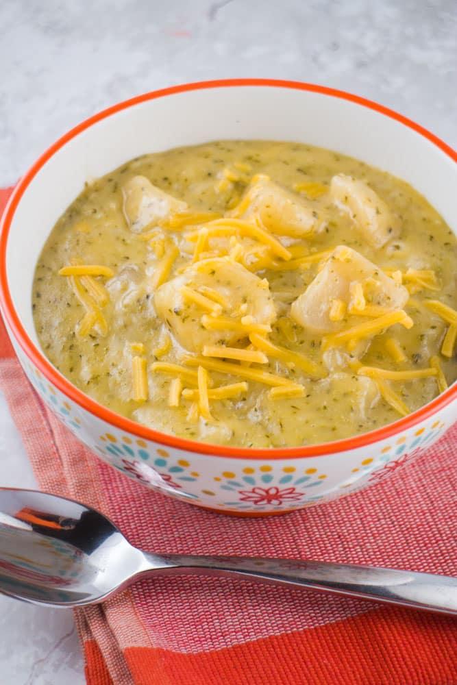 Slow Cooker Broccoli Potato Cheese Soup - Brooklyn Farm Girl