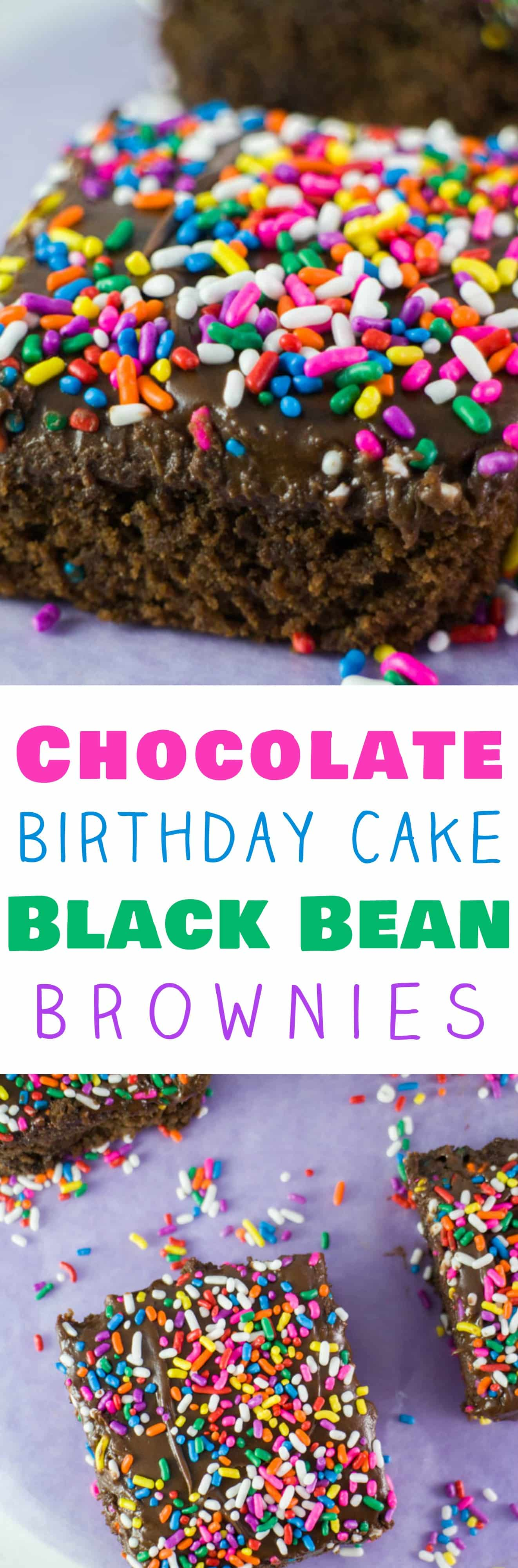 CHOCOLATE SPRINKLED BROWNIES made with BLACK BEANS and APPLESAUCE (healthy and low calorie!) that are easy to make!  These homemade chocolate brownies are super fudgy and moist! My family considers this the BEST brownies recipe!  The rainbow sprinkles on top make the brownies really pretty!