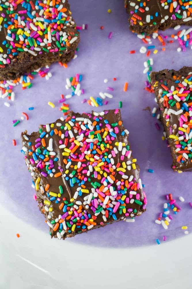 CHOCOLATE SPRINKLED BROWNIES made with BLACK BEANS and APPLESAUCE (healthy and low calorie!) that are easy to make!  These homemade chocolate brownies are super fudgy and moist! My family considers this the BEST brownies recipe!  The rainbow sprinkles on top make the brownies extra fun!
