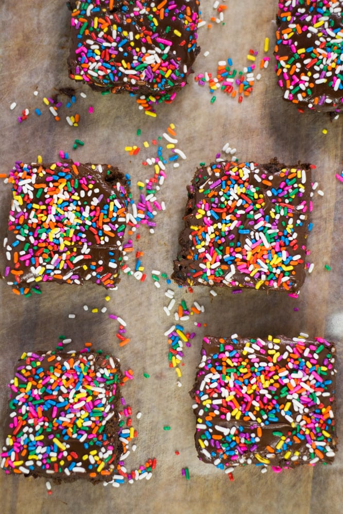 Cake textured Rainbow Sprinkled Chocolate Brownies made with Black Beans and Applesauce! These Chocolate Birthday Cake Black Bean Brownies are going to change your life!
