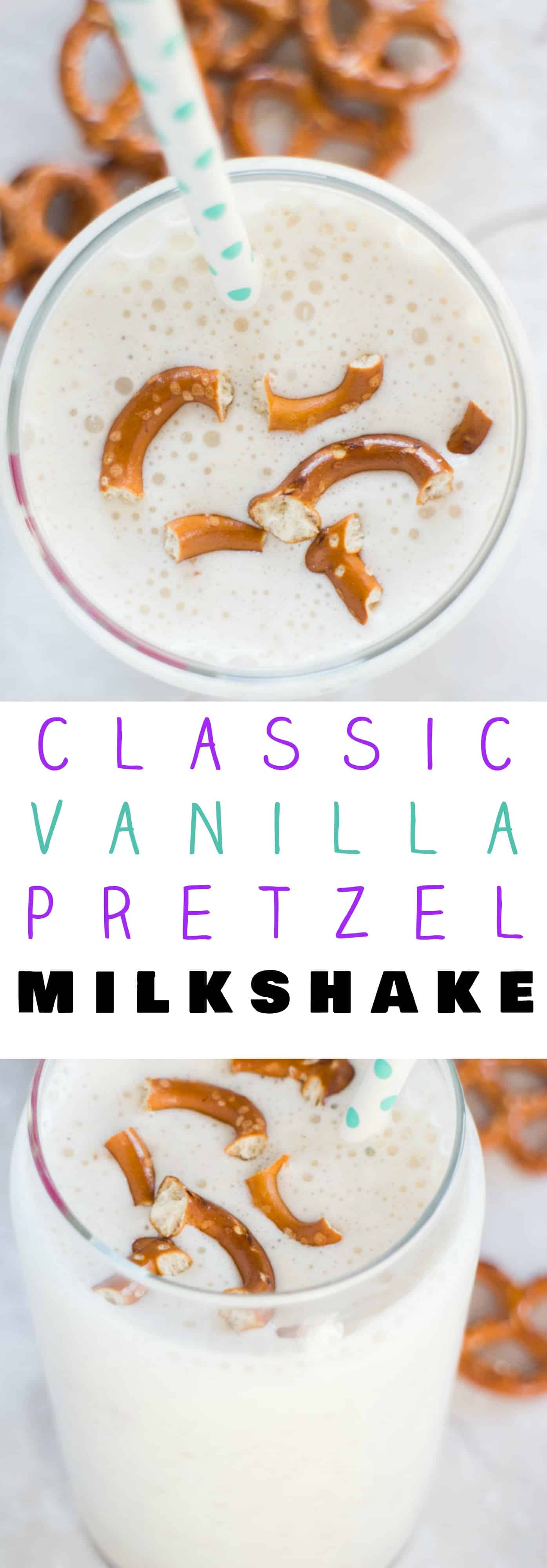 4 Ingredient Vanilla Pretzel Milkshake! This homemade milkshake recipe is easy to make and is the perfect combo of sweet and salty! Throw the 4 ingredients in your blender and it's ready - it's that simple! Perfect for dessert or a Summer treat!