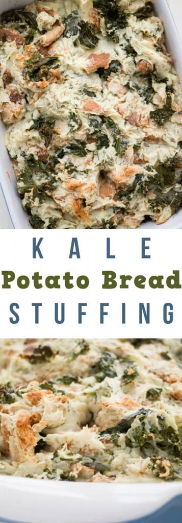 This Kale POTATO BREAD Stuffing is a comfort food recipe that goes perfect with a chicken, pork chop or steak dinner.  It's simple to make because it's made with instant potatoes!  This Potato Bread Stuffing is always requested at Thanksgiving! You'll love how the top is slightly crispy too!