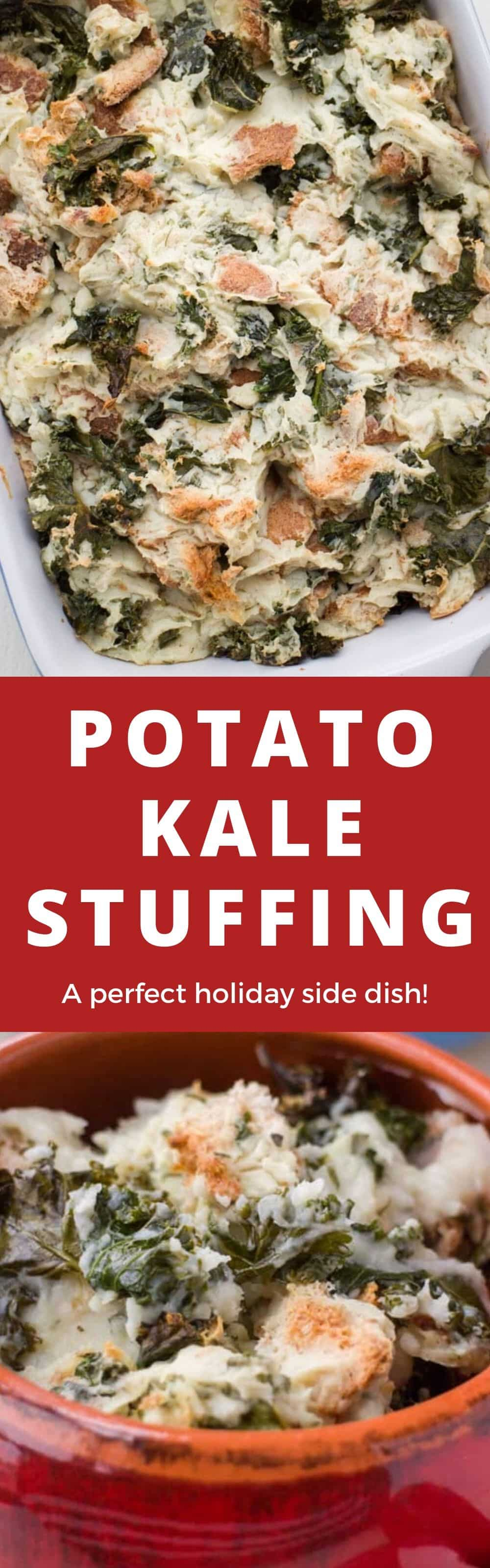 This Potato Kale Stuffing is a comfort food recipe that goes perfect with a turkey, chicken or pork chops. It's simple to make because it's made with instant potatoes! Potato Kale Stuffing is also always requested at Thanksgiving! The perfect hearty side dish for your holiday meal.