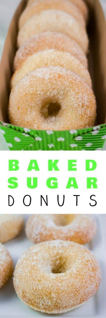 HOMEMADE BAKED Sugar Donuts recipe that is easy to make and ready in 15 minutes.  These simple and extra soft donuts taste just like raised sugar donuts from your favorite bakery!