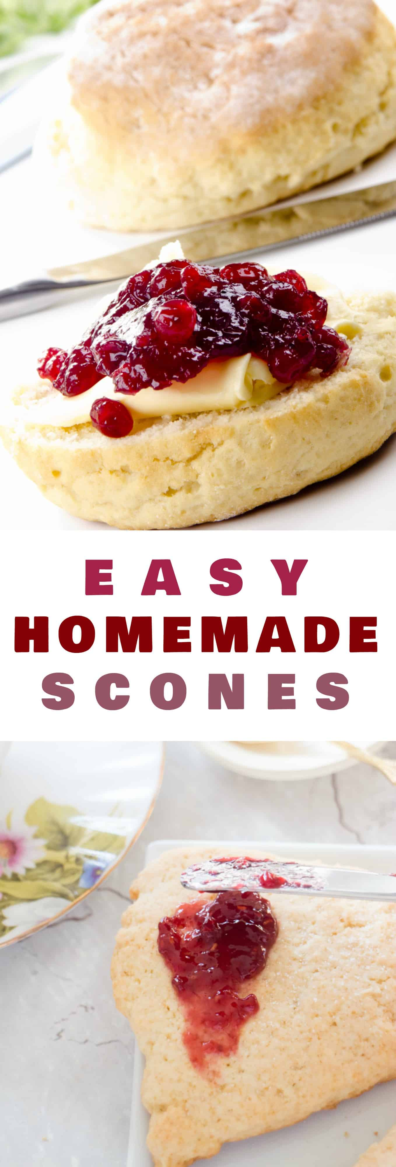 EASY delicious Homemade Scones that are perfect to serve with clotted cream, jam and tea! This is a one bowl recipe that creates crumbly English soft scones – just like at a tea house. The secret to this recipe is sour cream! Add blueberry or raspberry to them to make them berry flavored!