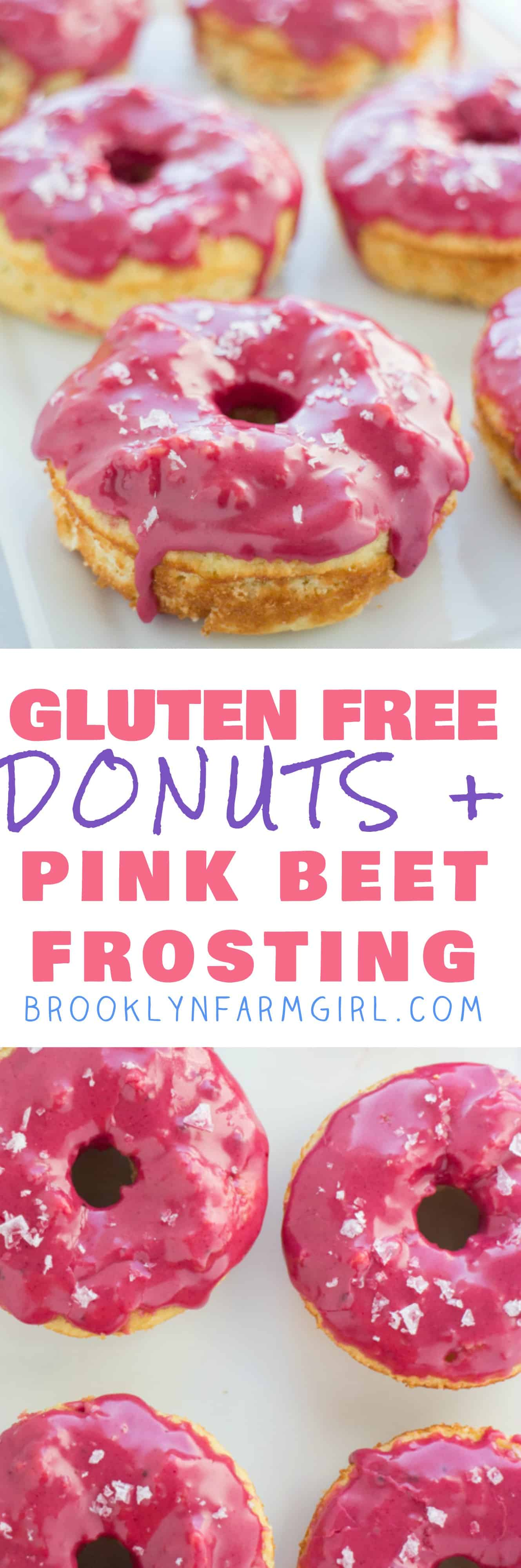 GLUTEN FREE Baked Vanilla Donuts recipe with a bright pink frosting on top!  The icing glaze is completely all natural!   These cute donuts are great for birthday party, bridal party and wedding desserts!  They're always a favorite at PTA meetings too!