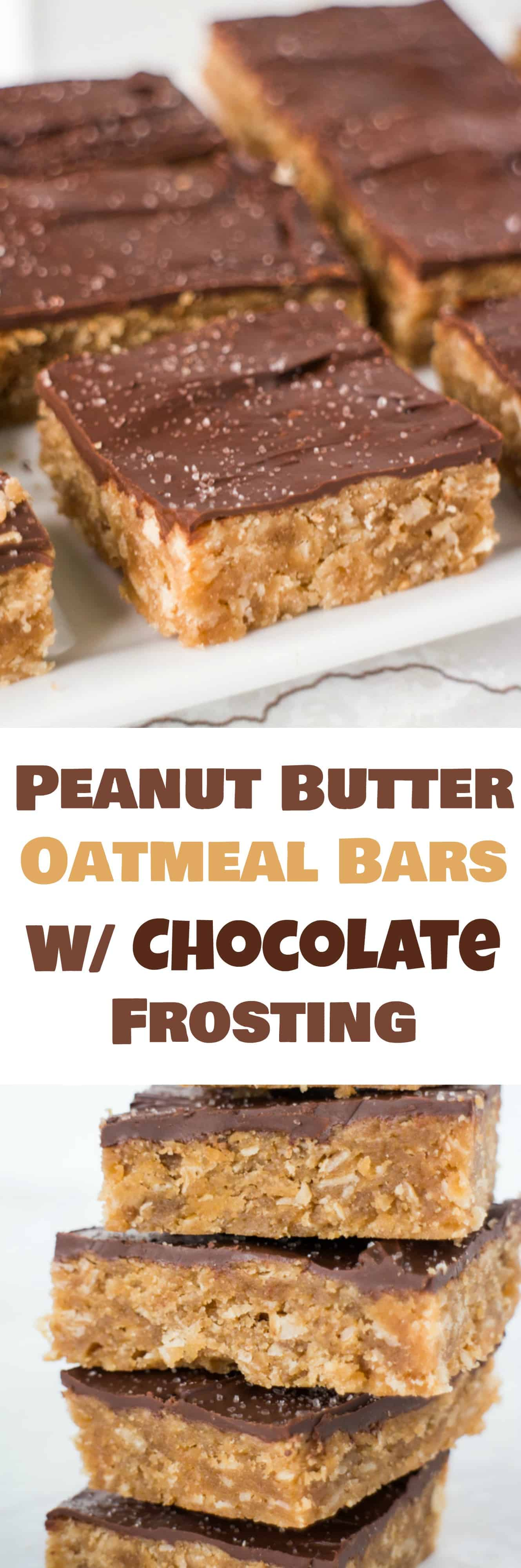 Guilt-free Peanut Butter Oatmeal Bars with Melted Chocolate Frosting on top! You'll love how easy this recipe is and how these bars don't fall apart! These bars are great for breakfast or dessert and are packed with protein! To keep it light on calories substitute 1/2 cup Stevia Blend instead of sugar.