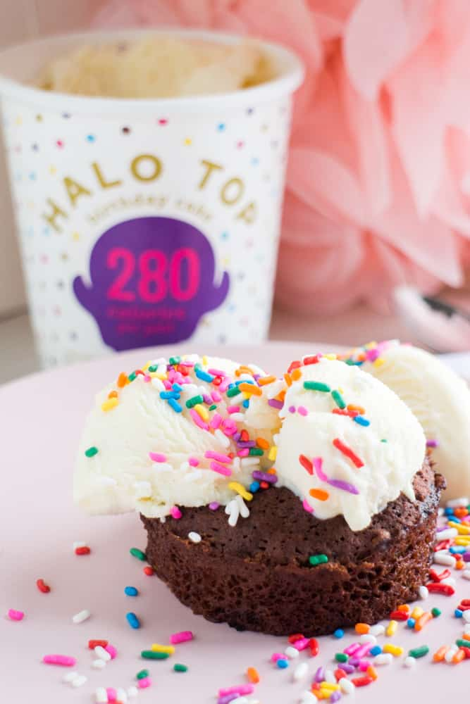 DELICIOUS and only 175 CALORIES, this Birthday Cake Ice Cream Chocolate Brownie is my favorite dessert recipe! This healthy easy recipe uses all-natural ingredients and won't leave you without any guilt after eating! It's amazing - you must try it!