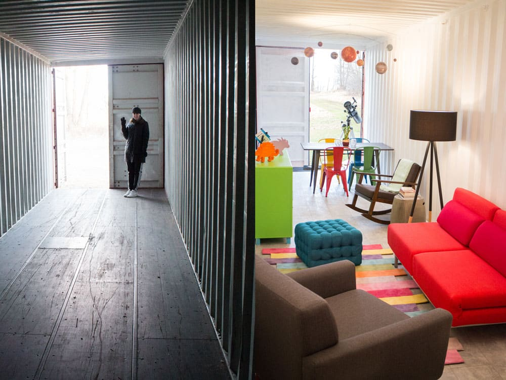 How to remodel a shipping container's floor to make it move in ready. Find out how to easily refinish the floors on a budget to turn it into your modern dream home! Great design inspiration and cost info for your shipping container house!