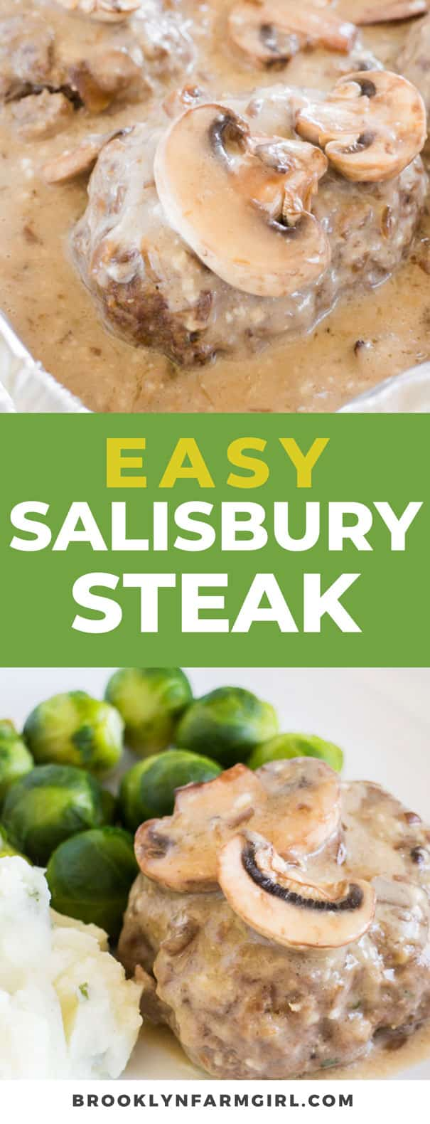 Easy Salisbury Steak recipe that is baked in the oven. This simple dinner uses cans of french onion soup and cream of mushroom soup, along with ground beef and bread crumbs. Includes how to freeze Salisbury steak instructions if you want to make this ahead of time for a freezer meal.