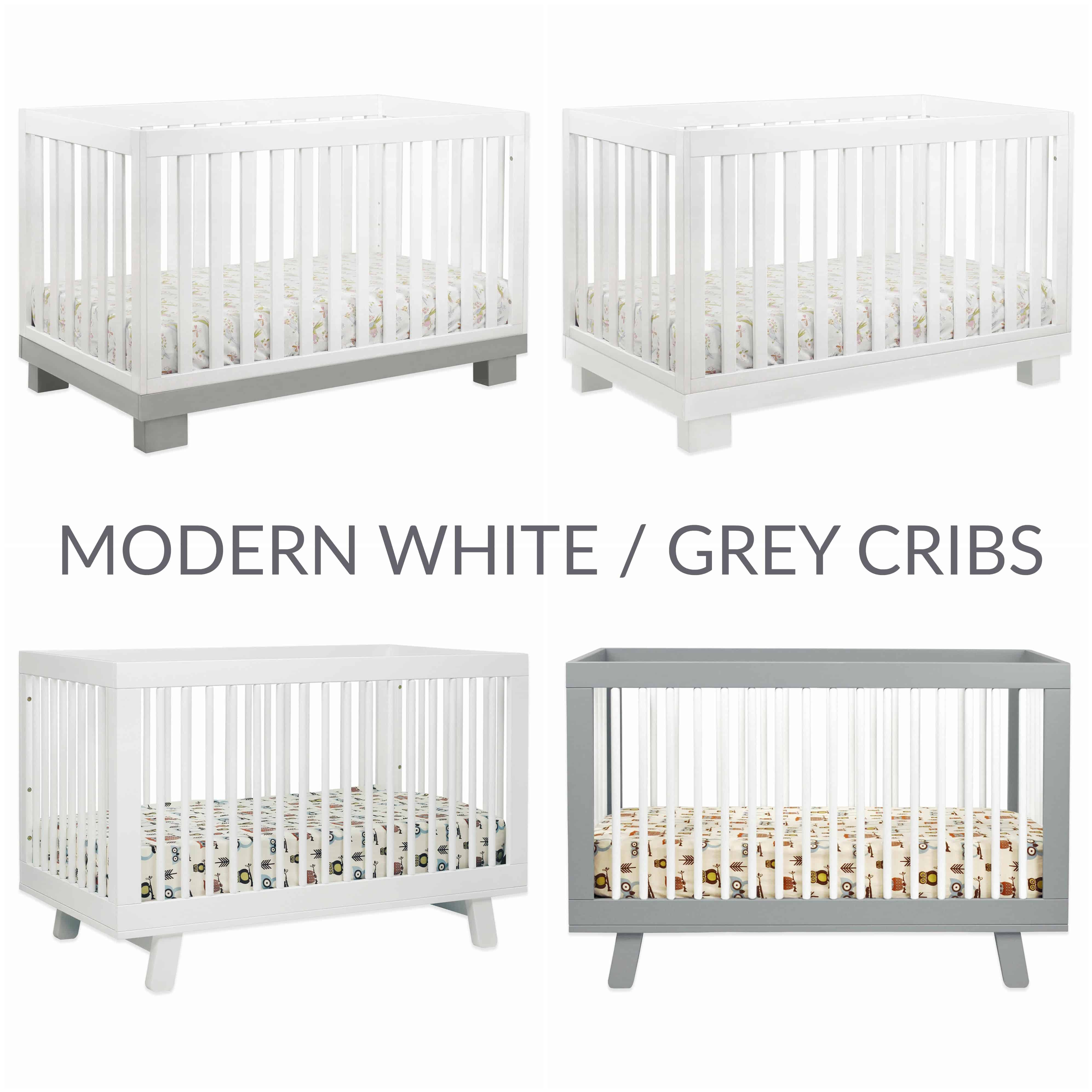 Modern White Grey Cribs