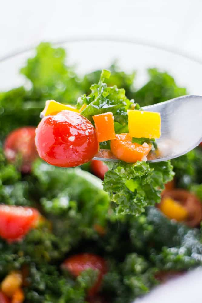 Kale Salad with Cherry Tomatoes and Peppers