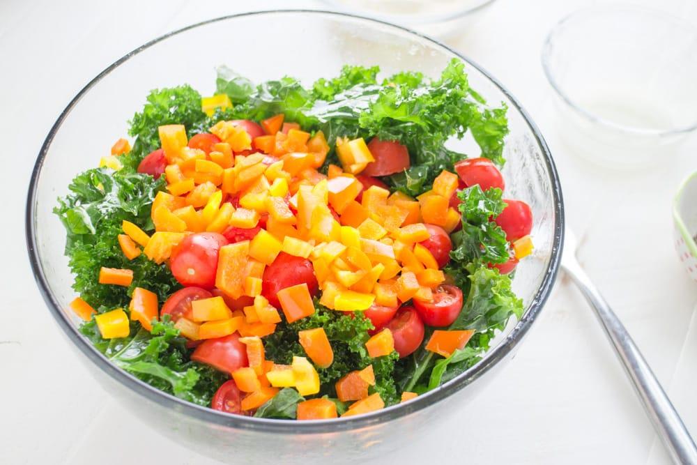 Kale Salad Ingredients in Bowl