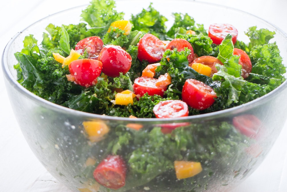 Kale Salad with Green Peppers in Bowl