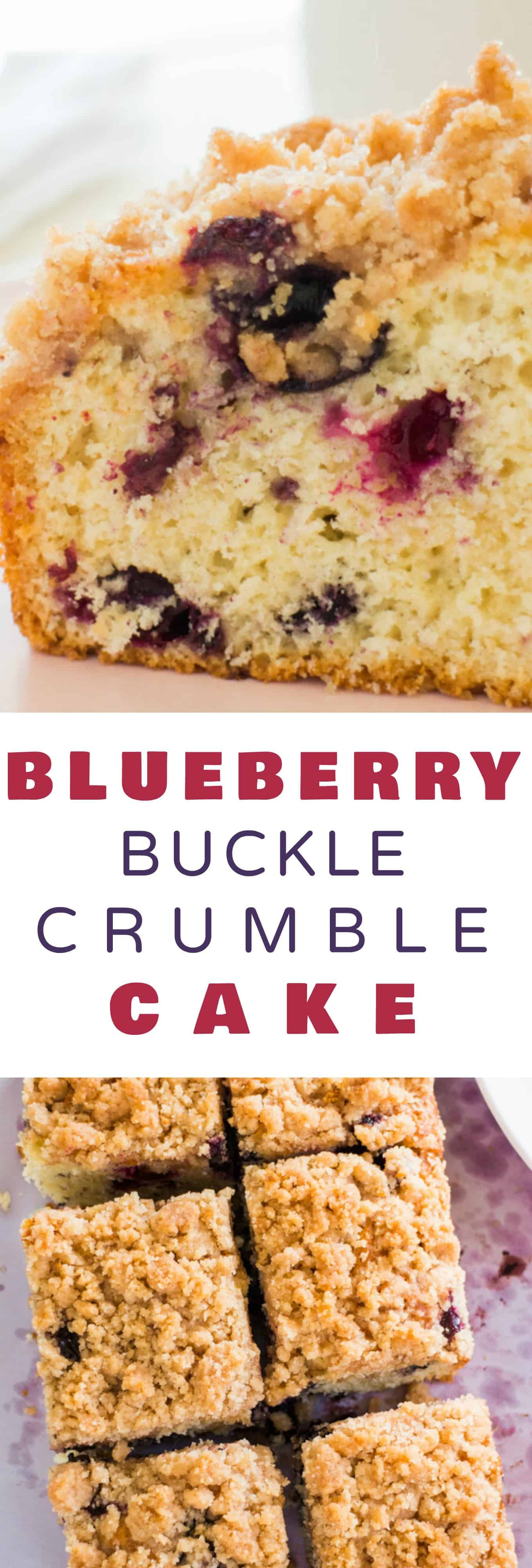 Easy to make Blueberry Buckle that tastes just like Coffee Cake!   This moist cake recipe has a yummy cinnamon streusel Topping that my family thinks is the best!  Enjoy for breakfast or dessert.  Made in a 8x8 pan, but can be doubled in a 9x13.