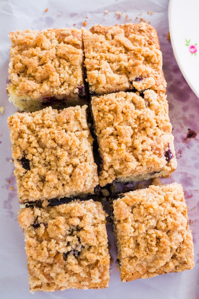 Easy to make Blueberry Buckle that tastes just like Coffee Cake!  This old fashionedcake recipe has a yummy cinnamon streusel topping that my family thinks is the best! Enjoy for breakfast or dessert. Made in a 8x8 pan, but can be doubled in a 9x13.
