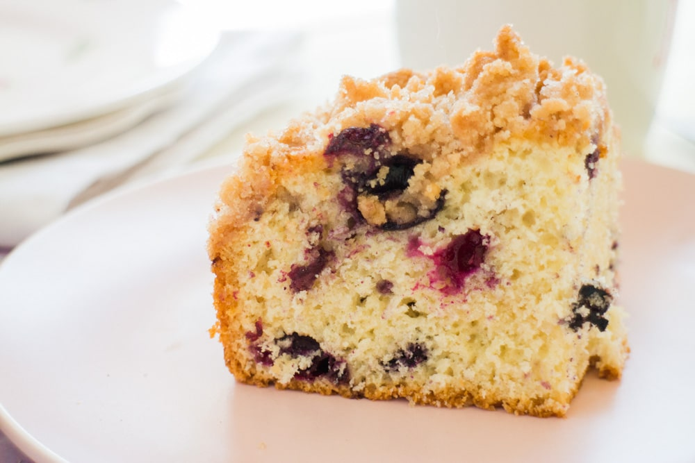 THE BEST Blueberry Buckle Crumble Cake that is delicious and tastes just like Coffee Cake! This moist cake recipe is easy to make and has a yummy Streusel Topping. Ingredients are simple - you probably have everything in your kitchen already to make it! Double this recipe by using a 9x13 pan.