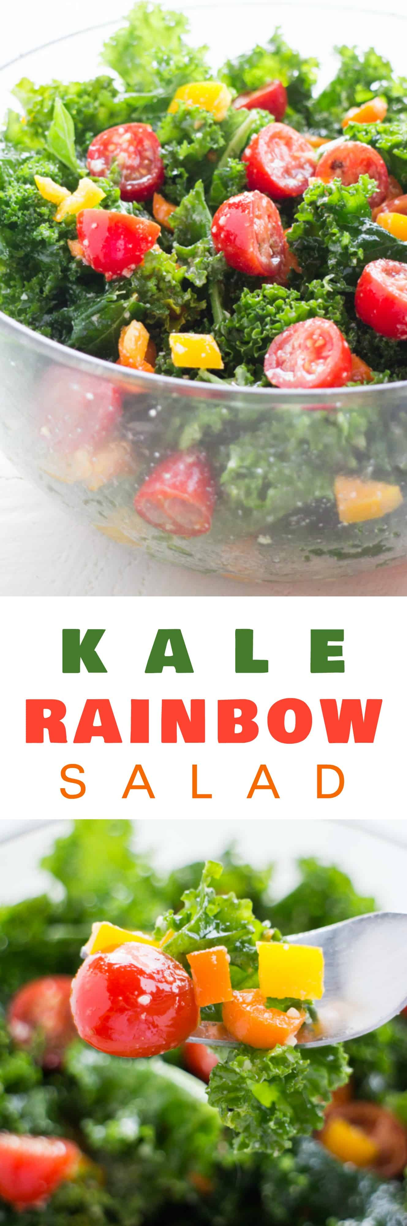 Kale CHERRY TOMATO Rainbow Salad with olive oil and lemon dressing is the perfect healthy salad recipe!  This easy salad includes massaged kale, grape tomatoes and colorful peppers to give it a pretty rainbow look!  My family loves this salad for dinner in Summer and Winter, and it's great for a crowd!