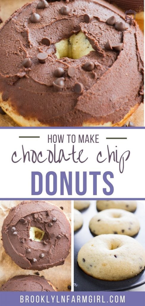 Easy Chocolate Chip Donuts recipe that makes fluffy baked homemade donuts ready in 10 minutes!  Mini chocolate chips are baked inside the donuts with the best chocolate frosting on top!