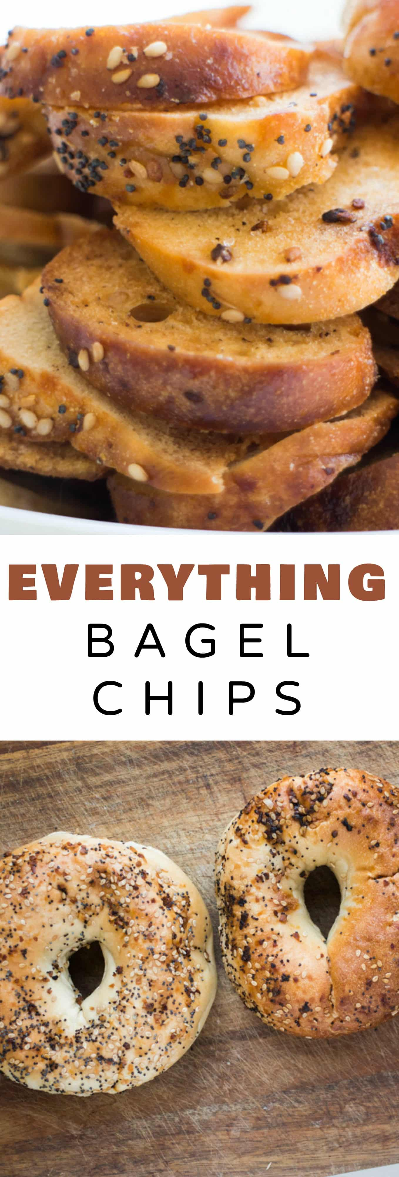 CRUNCHY homemade Everything Bagel Chips! This recipe is easy to make and only requires 3 ingredients! These DIY NYC bagel chips are perfect for snacks and appetizers! Save money and start making your own crispy Bagel Chips!