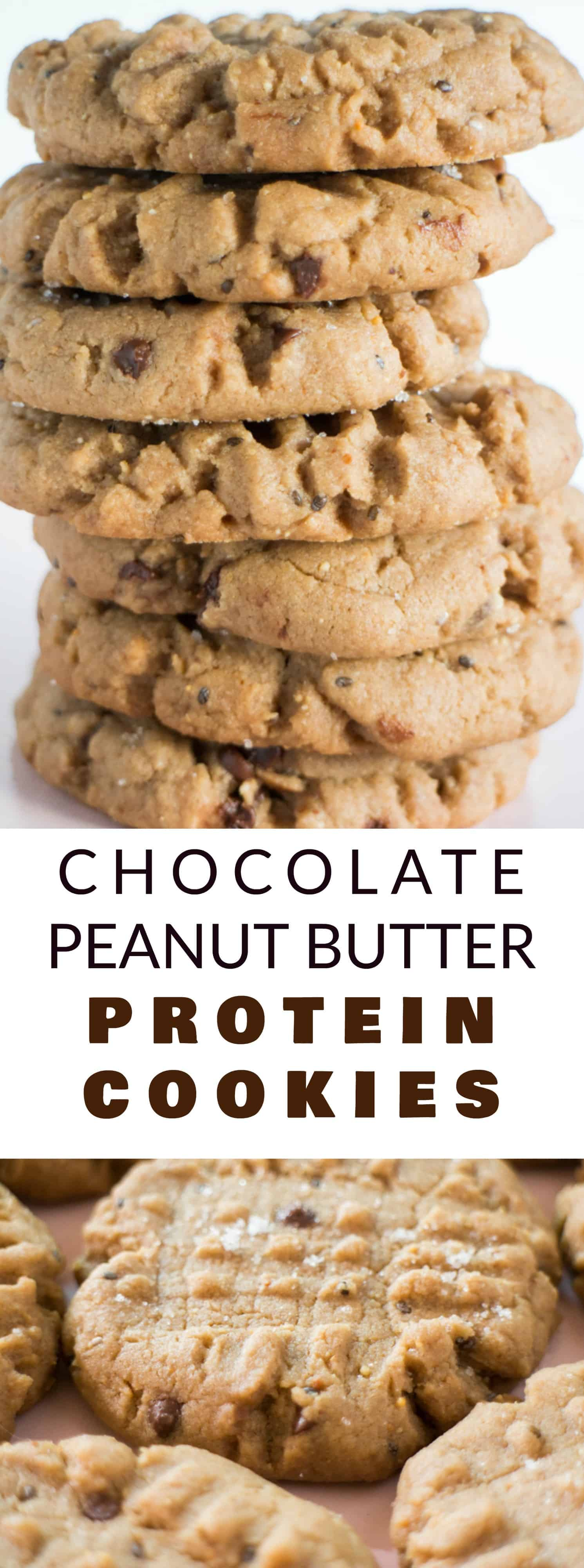 DOUBLE CHOCOLATE Peanut Butter Protein Cookies! This easy recipe makes 2 dozen delicious, healthy cookies made with chocolate protein powder. I love eating these chewy cookies for breakfast or a afternoon snack because they're a great source of iron, protein and fiber!