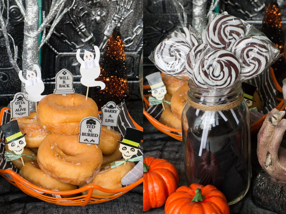 Looking for EASY Halloween recipes? Make this Root Beer Bundt Cake with a spooky black sugar glaze on top! Every party needs drinks so serve this SIMPLE 2 ingredient Orange Sherbet Punch with scary candy eyeballs!