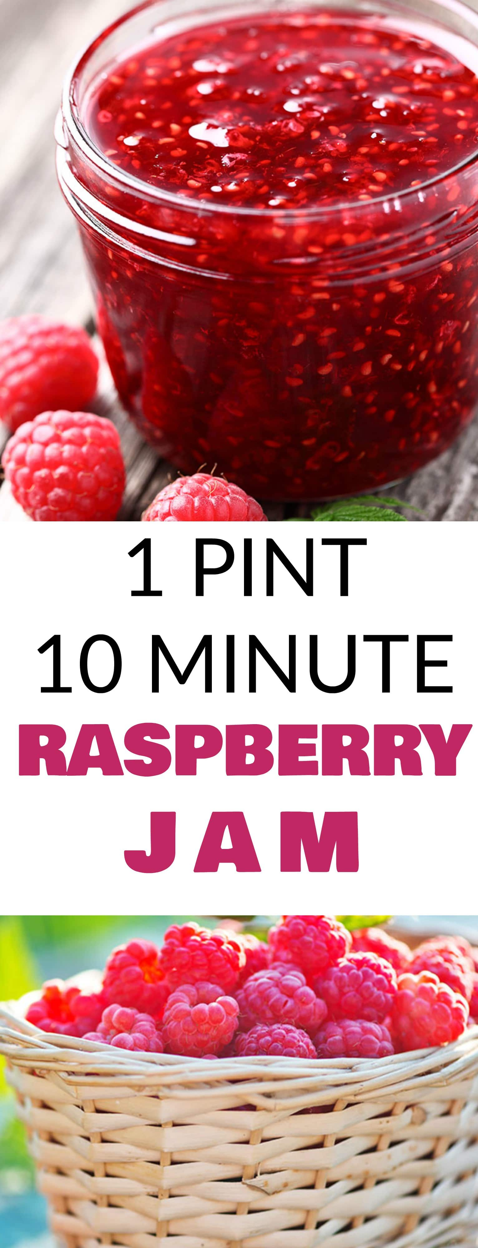 Easy 10 Minute Raspberry Jam recipe! This healthy homemade recipe uses 1 pint of fresh raspberries, honey and lemon juice. NO pectin or sugar required!  I always make 2 jars - one to store in the refrigerator and one to store in the freezer!