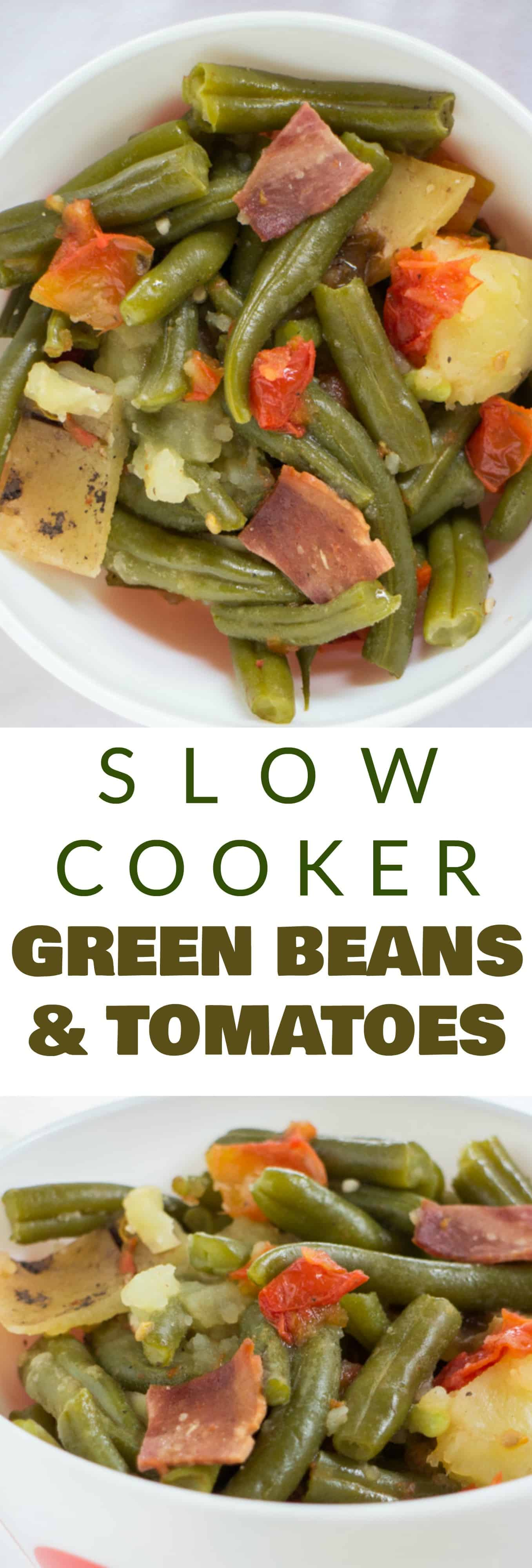 SLOW COOKER Green Beans Recipe with Tomatoes! This easy recipe cooks fresh green beans, tomatoes, potatoes and bacon in a crock pot for 4 hours.  This is a healthy dish makes for delicious vegetable side dishes that you can serve over rice or as a side dish to chicken or Thanksgiving holiday dinners.  This has been become one of families favorite healthy thanksgiving recipes!