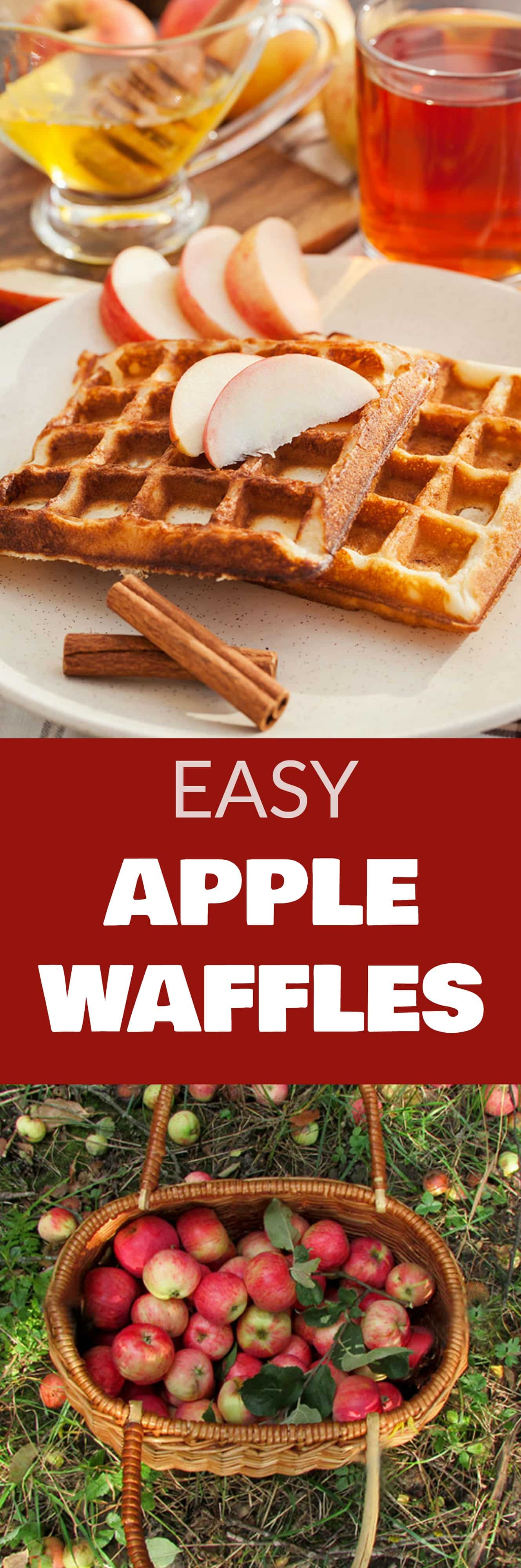 EASY Apple Waffles recipe! This healthy waffle recipe include fresh shredded apples and cinnamon! They are simple to make for a Fall breakfast! Serve with maple syrup on top!