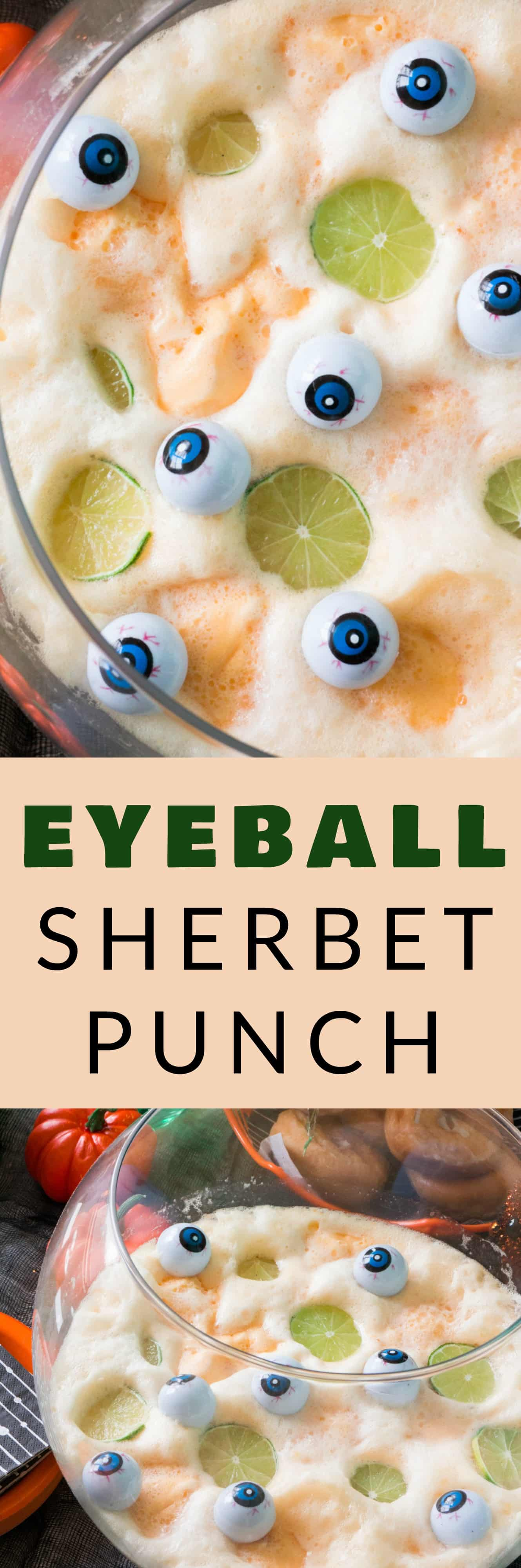 Halloween Punch with funny eyeballs is made so easily with just orange sherbet and 7UP. This spooky drink recipe that kids and adults will love is the perfect addition to Halloween parties! Non-alcoholic.
