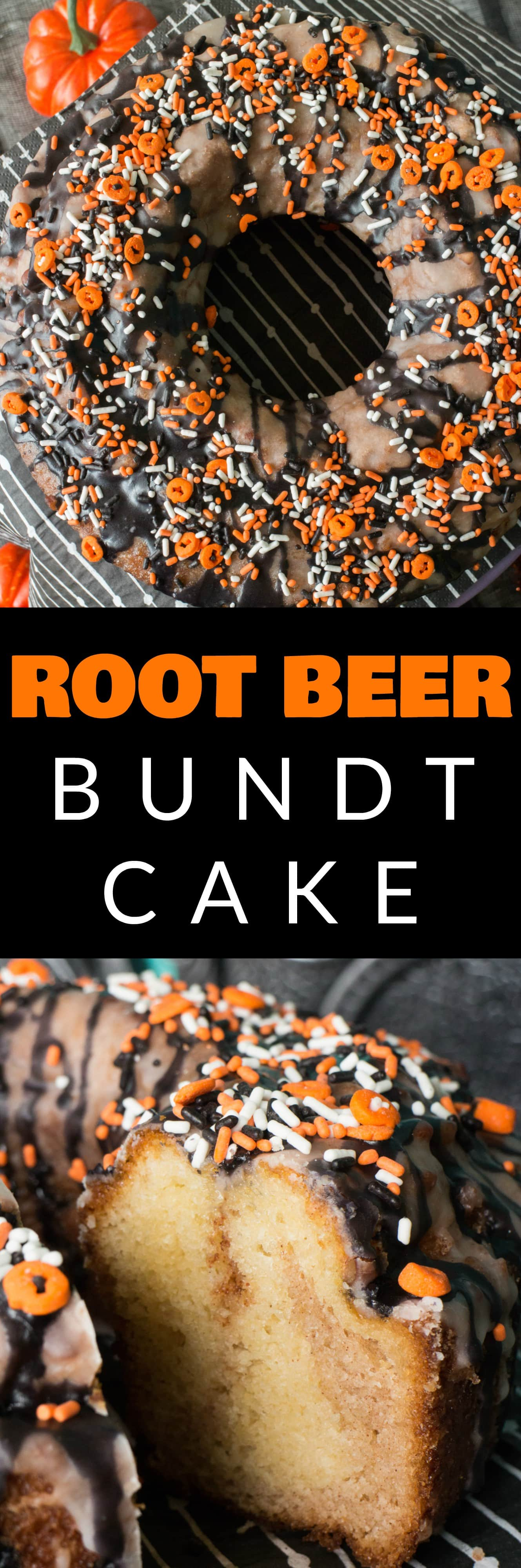 Root Beer Halloween Bundt Cake recipe!  This cake is easy to make and is so moist inside! I decorate it with a black sugar glaze and sprinkles on top for Halloween!  It's easy to use this recipe for a Christmas bundt cake too!