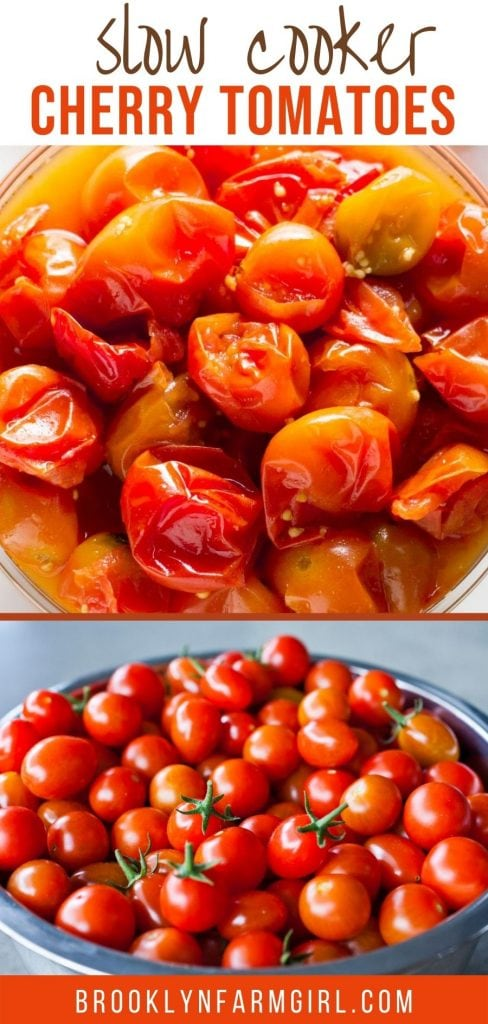 Easy to make slow cooker cherry tomatoes bursting with sweet juicy flavor.  Throw the cherry tomatoes in a crockpot for 5 hours and they're ready.  These are perfect to serve as a healthy side dish, or on to make tomato sauce with.  If you have lots, you can preserve by canning or freezing them!