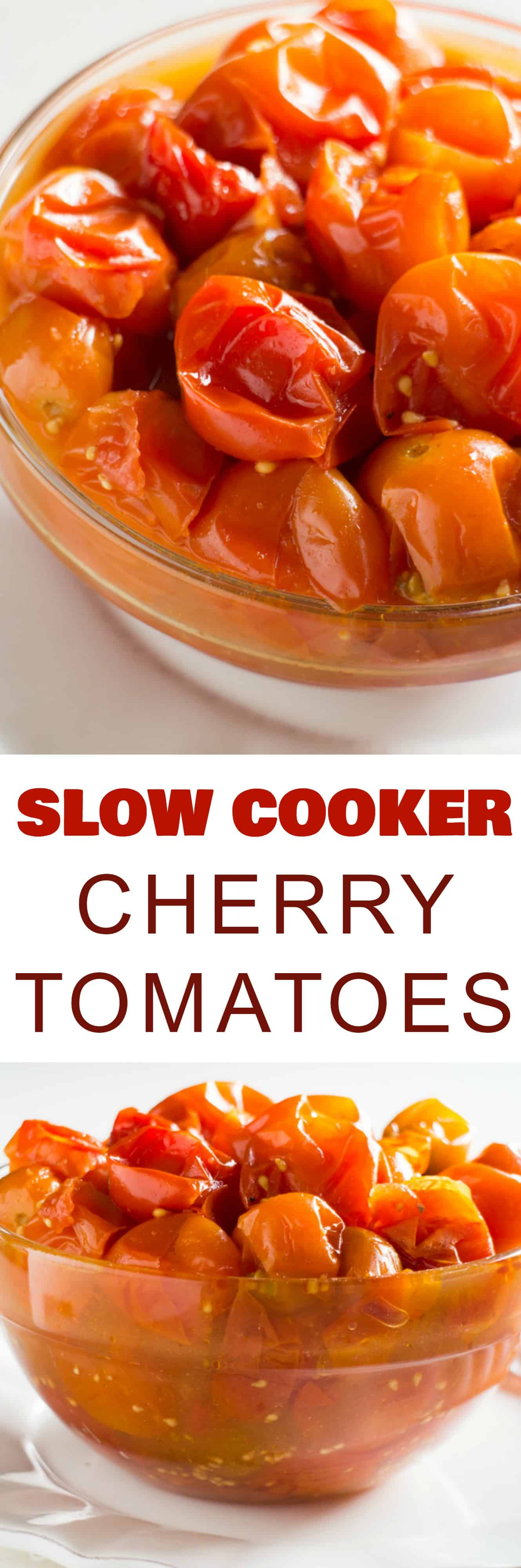 EASY, SLOW COOKER Cherry Tomatoes recipe! This healthy cherry tomatoes crockpot recipe is ready in 5 hours! Serve these as a side dish, or they make a great sauce on pasta for dinner! You can preserve by canning or freezing them! I love serving them as a Thanksgiving comfort food side dish alongside green beans!