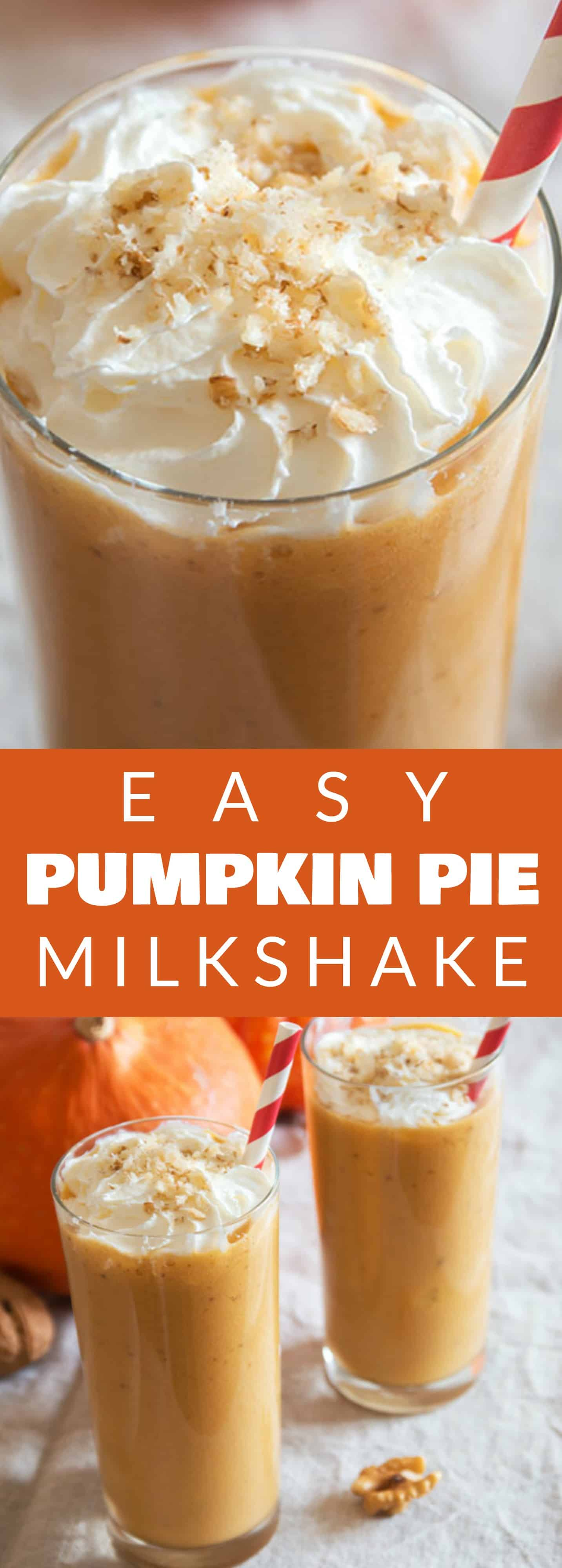 Easy PUMPKIN PIE Milkshake! This easy milkshake recipe uses 1 slice of PUMPKIN PIE to make the BEST tasting pumpkin milkshake! This drink is one of those 4 ingredients desserts, including vanilla ice cream and milk!  It's a perfect Fall Thanksgiving dessert and a great solution if you have leftover pumpkin pie!