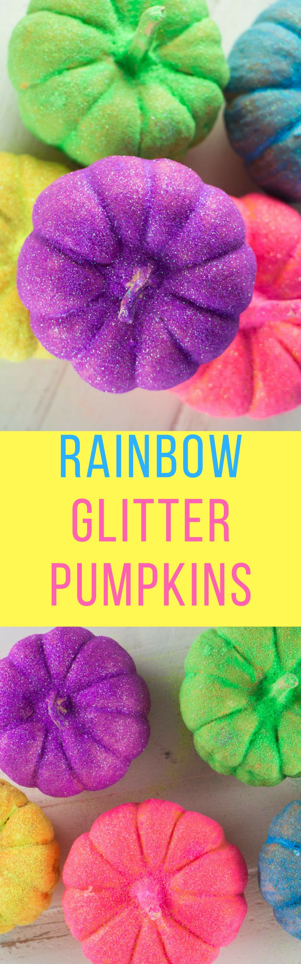 How to Make QUICK Rainbow GLITTER Pumpkins. Follow these easy Step By Step Instructions on how to make a pumpkin Halloween Craft! We love adding neon color to our Halloween decorations! This is a great arts and crafts activity for preschoolers!
