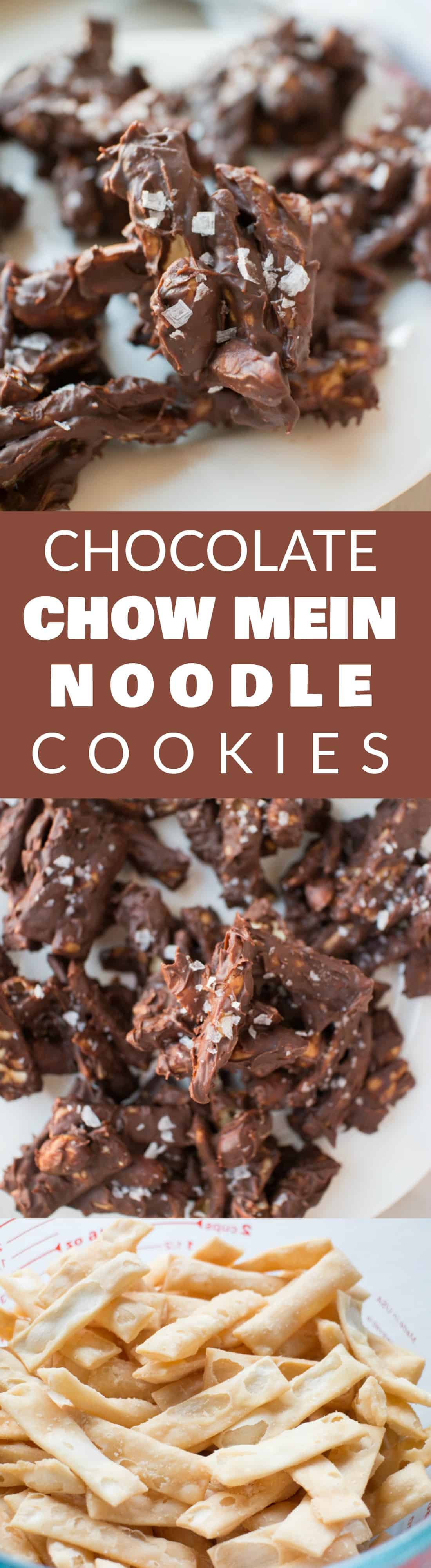 CHOCOLATE CHOW MEIN Noodle COOKIES are my family's favorite! This easy no bake recipe only requires 4 ingredients! They're simple to make and you only need chocolate chips, peanut butter chips, chow mein noodles and peanuts! I love adding a dash of salt on top too! They are so much to make with kids! Make them for parties, dessert, bake sales or a alternative to Christmas cookies!